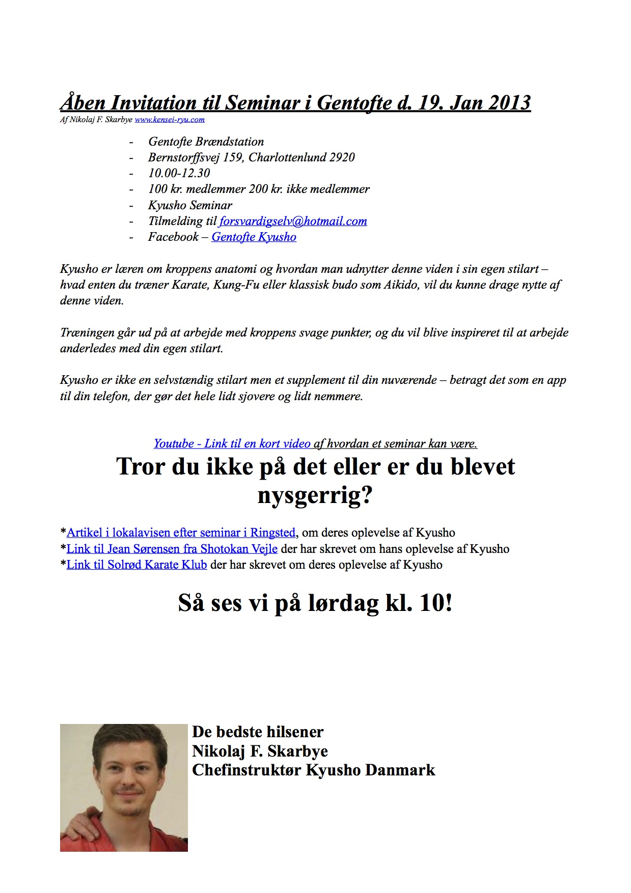 Åben Invitation til Seminar med links