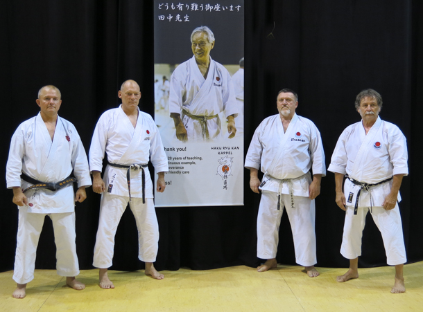 Jesper F. Andersen sensei, Frank Starck-Sabroe sensei with friends from Hungary Janos Krepsz sensei and Netuggya Senki sensei