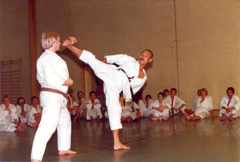 Tanaka sensei under et af hans mange besøg i danske Shotokan klubber mens han boede i Danmark